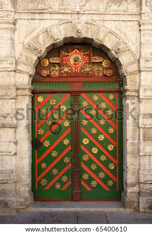 Estonia Tallinn Medieval Baltic city Ornate door of the House of the Brotherhood of the Blackheads