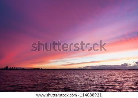 Estonia, Tallinn with fire sea sunset