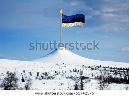 Estonian flag with ripples on top of mountain