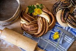 Estonian Kringle or Czech Poppy CinnamonPlait - great Estonian and Czech and Skandinavian dessert with poppy and cinnamon - rustic cinnamon and poppy dessert from yeast dough