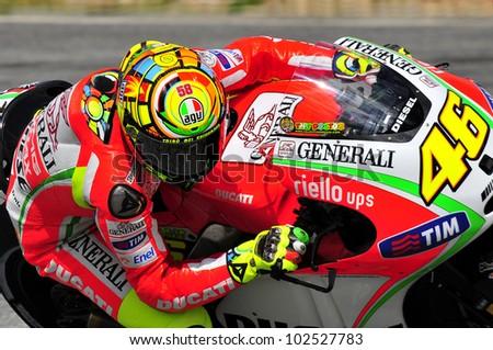 ESTORIL, PORTUGAL - MAY 4: Ducati team Valentino Rossi in free practice of MotoGP,  May 4, 2012 in Estoril, Portugal