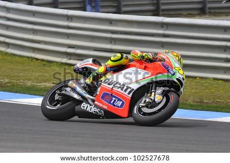 ESTORIL, PORTUGAL - MAY 5: Ducati team Valentino Rossi in qualifying of MotoGP,  May 5, 2012 in Estoril, Portugal