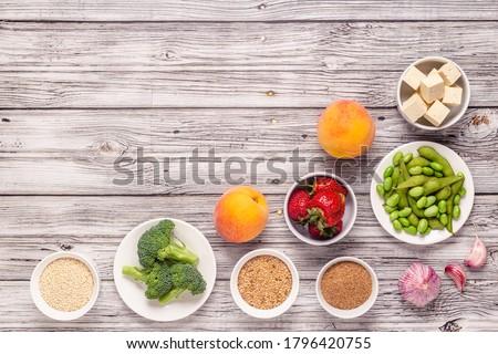 Estrogen-Rich Foods, Menopause Diet. Top view. Foto d'archivio ©