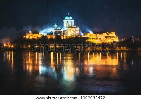 Esztergom Basilica with reflection in Danube river, Hungary. Night scene. Cultural heritage. Religious architecture. Illustration scene.