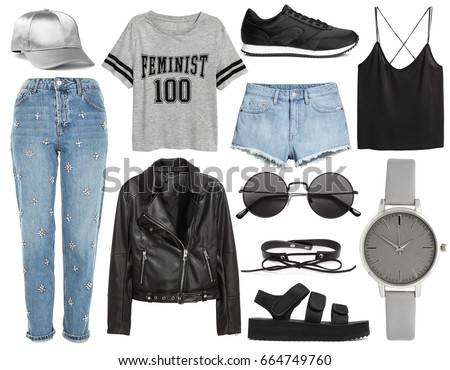 et of stylish clothes woman trendy fashion clothes collage on white