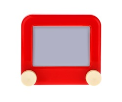 Etch A Message on a Red Sketch Board Isolated on White.