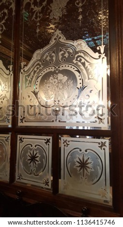 etched glass window pane #1136415746