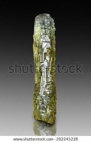 Etched heliodor crystal from Volodarsk, Ukraine.