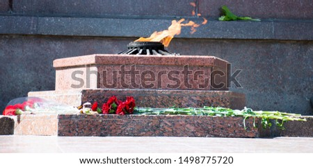 eternal flame, a symbol of memory and heroism. Flames of fire in a marble pedestal and carnations. Side view