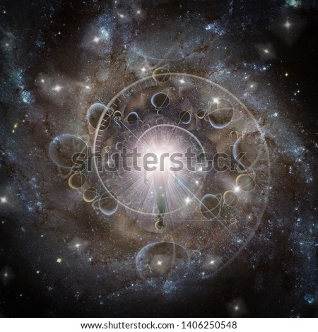 Eternity. Being of light in deep space. Time spiral. 3D rendering