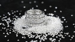 Eternity Diamond Ring with many diamond on black background