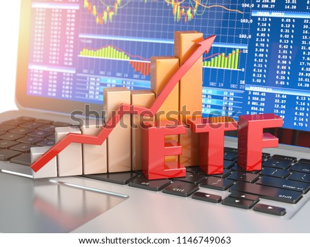 ETF exchange traded funds concept. Graph with ETF on the laptop keyboard with trade workstation app on the screen. 3d illustration