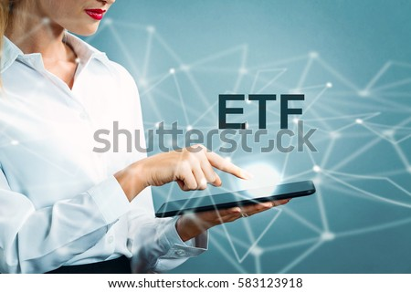 etf text with business woman...