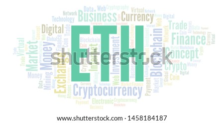 ETH or Ethereum cryptocurrency coin word cloud. Word cloud made with text only.