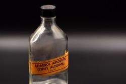 Ethanol Bottle on Black Background