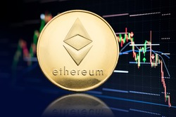 Ethereum coin and stock chart background with price falling. Cryptocurrency