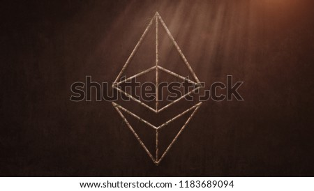 Ethereum Coin Logo Deformed Old Stones And Growing Leaves On The Old Wall Background. Stone Ethereum Coin Logo. 3D İllustration.