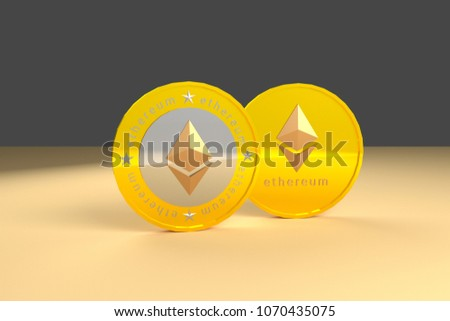 Ethereum cryptocurrency, 3D rendering stock image #1070435075