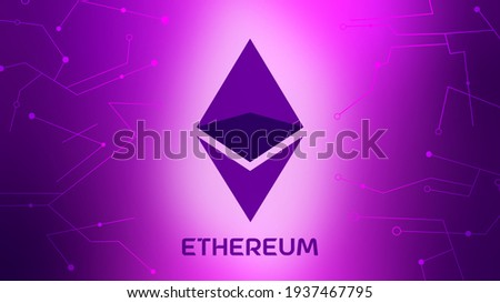 Ethereum Cryptocurrency with gradient background. Cryptoart concept illustration for non-fungible token.Digital art with blockchain technology. Can use for web banner, infographic illustration concept Stockfoto ©