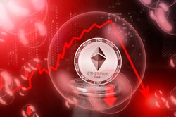 Ethereum Dark ETHD in a soap bubble. Risks and dangers of investing to Ethereum Dark cryptocurrency. Collapse of the exchange rate. Unstable concept. Down drop crash bubble