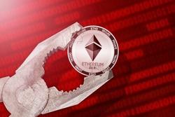 Ethereum Dark regulation, control; Ethereum Dark ETHD cryptocurrency coin being squeezed in vice, under pressure; limitation, prohibition, illegally