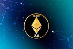 Ethereum 2.0 Digital currency - Cryptocurrency. Golden Ethereum coin on futuristic blue and teal background