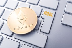 ethereum hodl concept. Toned soft focus picture. Conceptual image for worldwide cryptocurrency and digital payment system.