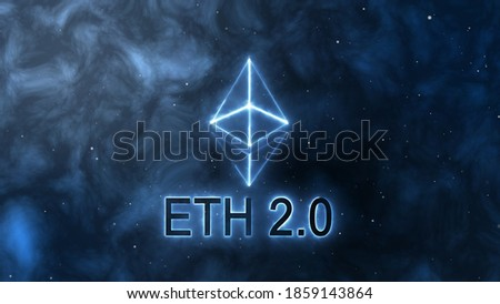 Ethereum 2.0 logo animation on the space background. Digital currency - Cryptocurrency.