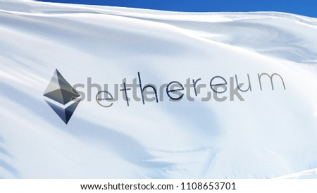 Ethereum logo flag waving against bright blue sky, editorial image, close up, isolated on clear blue sky with black and white matte.