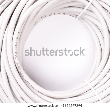 Ethernet cable rolled up, isolated, isolated on white