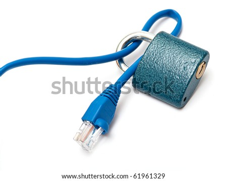 Ethernet cable with a padlock symbolizing internet security. - stock photo