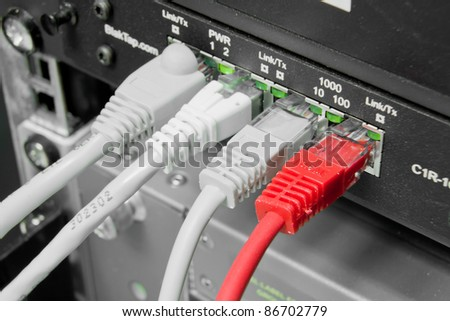 ethernet cables connected to switch