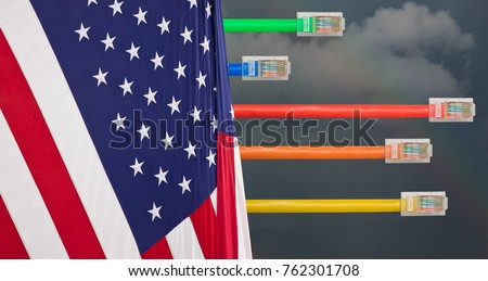Ethernet cables emerge with different lengths from US Flag to illustrate Net Neutrality debate in Congress #762301708