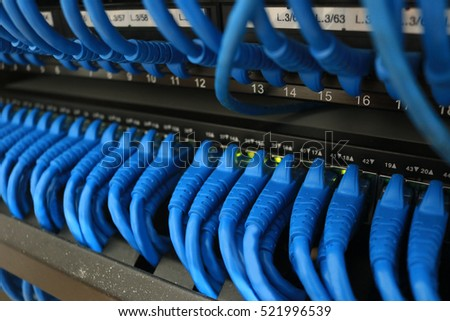 Ethernet wires cable system in rack server switch center