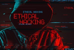 Ethical hacking concept with faceless hooded male person, low key red and blue lit image and digital glitch effect