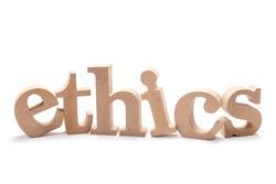 ETHICS wood word on white background