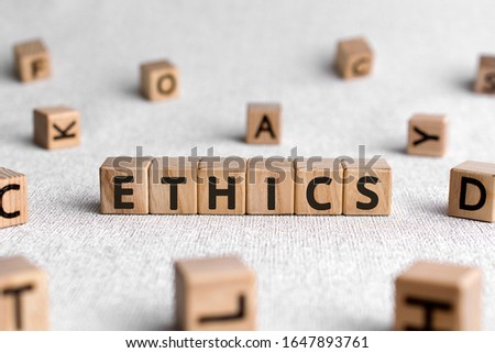Ethics - words from wooden blocks with letters, ethics moral philosophy concept, white background Сток-фото ©