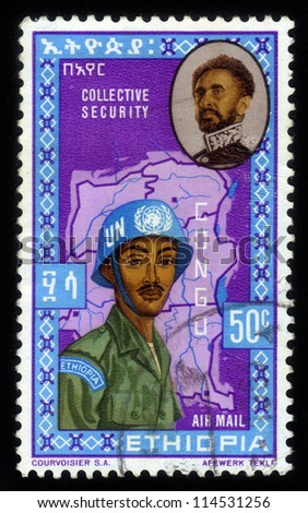 ETHIOPIA - CIRCA 1962: A stamp printed in the Ethiopia, shows image of emperor Haile Selassie and UN soldiers on a map of the Congo, circa 1962
