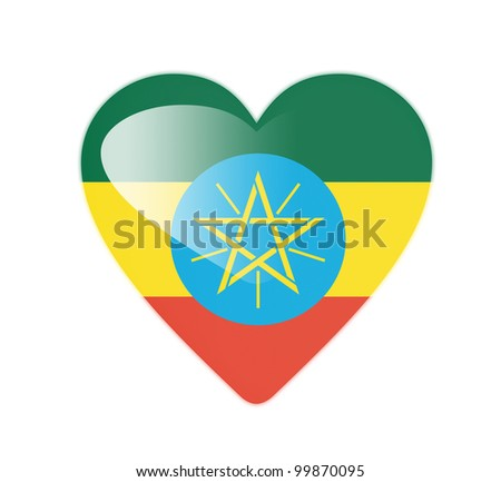 Ethiopia 3D heart shaped flag