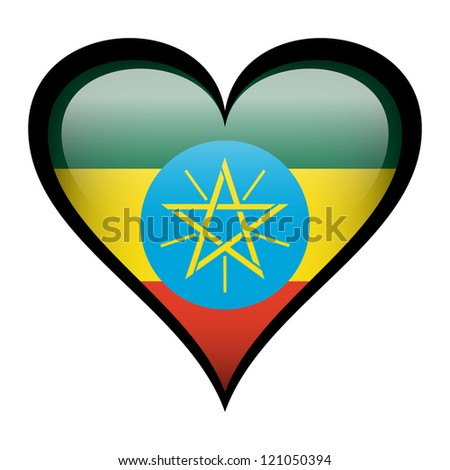 Ethiopia flag in heart isolated on white.