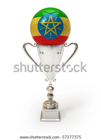 Ethiopia- Flag on the Soccer Ball on the Trophy Cup