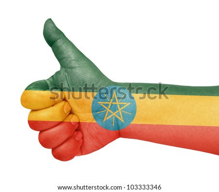 Ethiopia flag on thumb up gesture like icon on white background