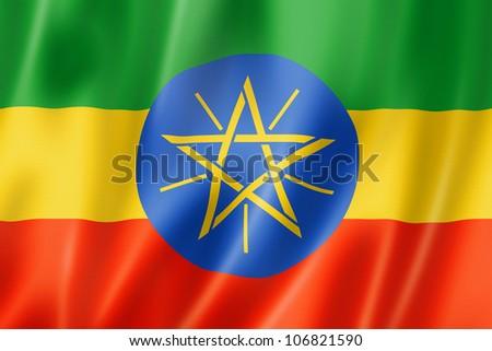 Ethiopia flag, three dimensional render, satin texture