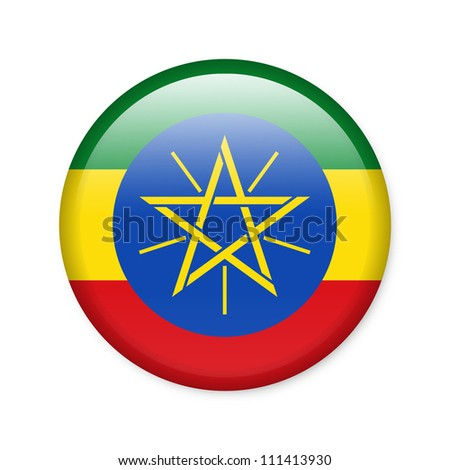 Ethiopia - glossy button with flag