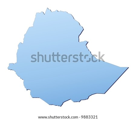 Ethiopia map filled with light blue gradient. High resolution. Mercator projection.
