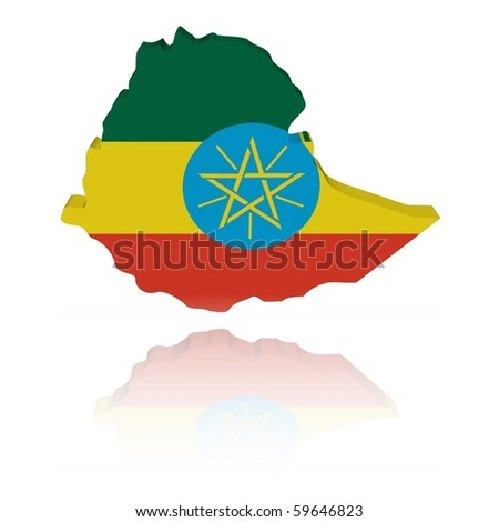 Ethiopia map flag 3d render with reflection illustration
