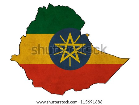 Ethiopia map on Ethiopia  flag drawing ,grunge and retro flag series