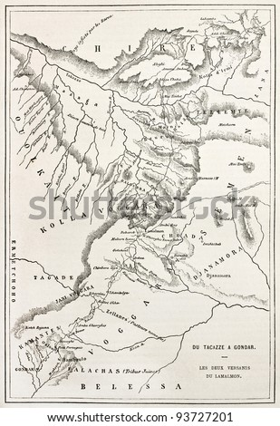 Ethiopia old map, from Gondar to Takeze river. By unidentified author, published on Le Tour du Monde, Paris, 1867
