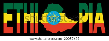 Ethiopia text with map on Ethiopian flag illustration JPEG