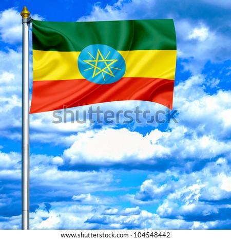 Ethiopia waving flag against blue sky